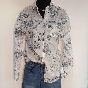 Anthropologie Lillies Closet LS Floral Shirt Top S